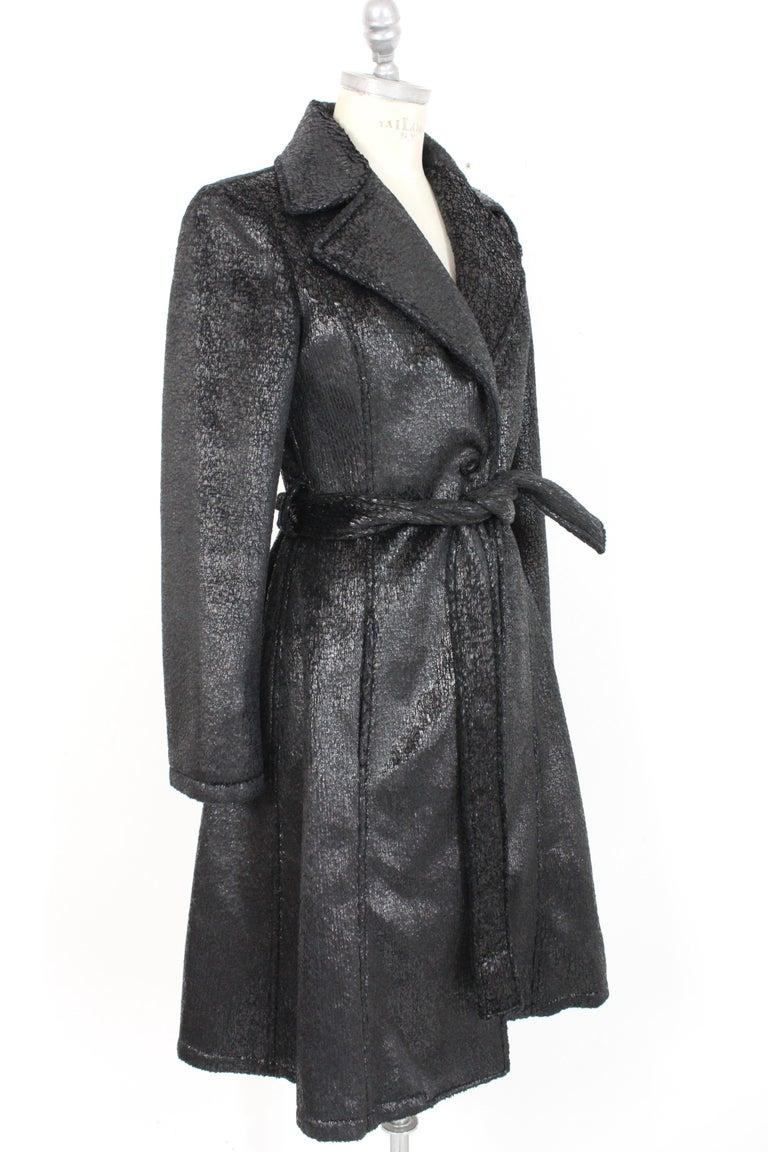 Women's Krizia Black Laminate Long Flared Coat 1980s For Sale