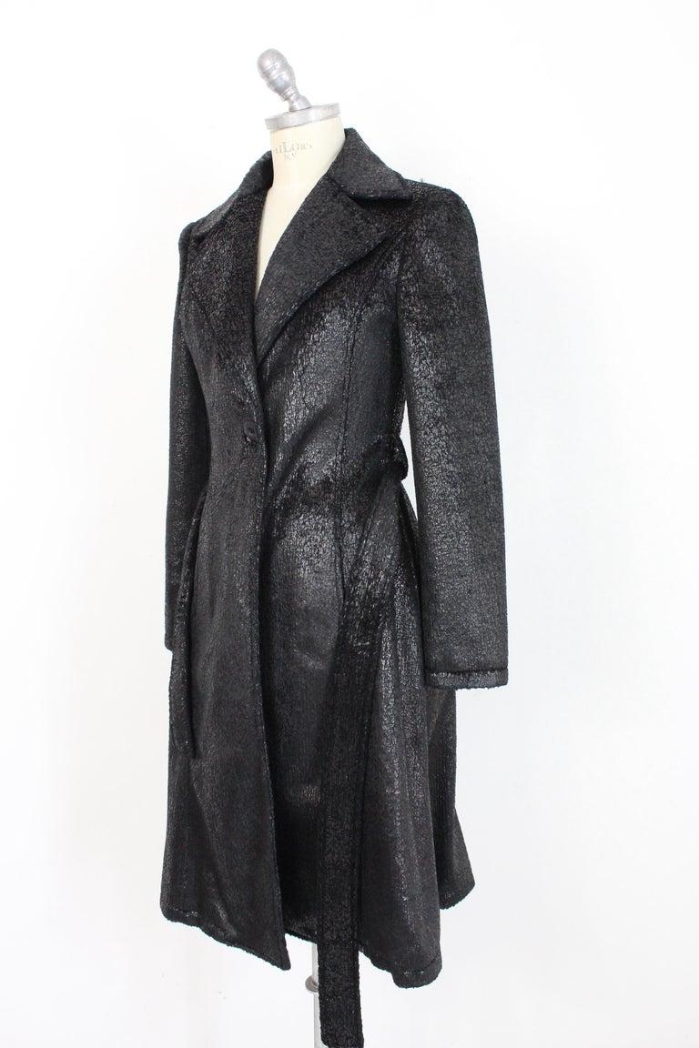 Krizia Black Laminate Long Flared Coat 1980s For Sale 1