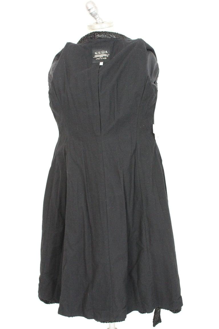 Krizia Black Laminate Long Flared Coat 1980s For Sale 2