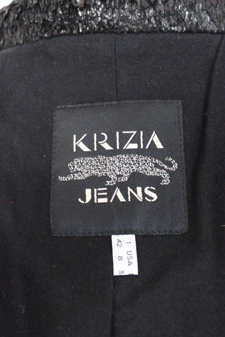 Krizia Black Laminate Long Flared Coat 1980s For Sale 3