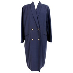 Krizia Blue Wool Classic Long Double Breasted Coat