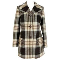 Krizia Brown Beige Wool Check Short Coat