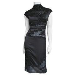 Krizia Dress with Bead Trim Cut outs