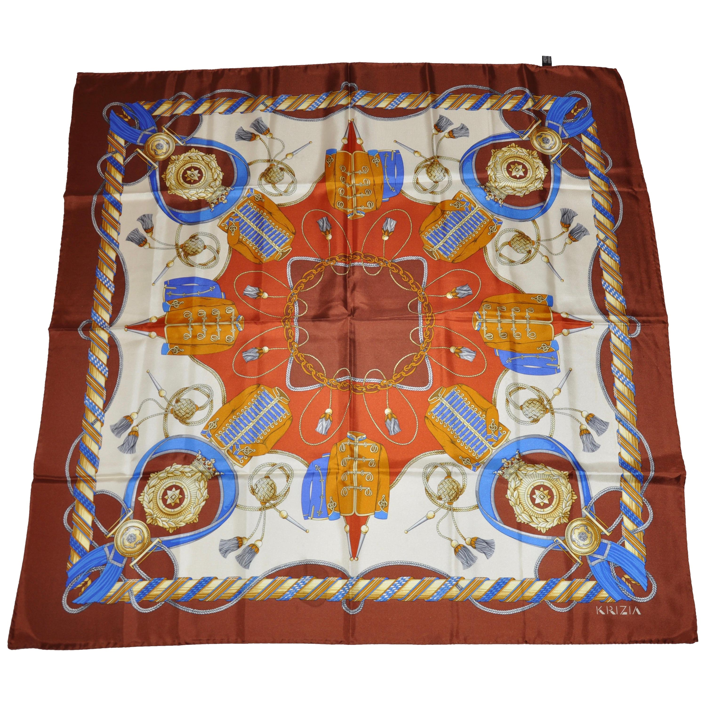 """Krizia Golden Brown """"Collection Of Royal Items"""" Silk Jacquard Scarf"""