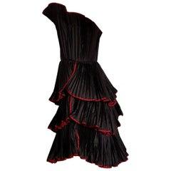 KRIZIA Haute Couture single piece black flounced pleated silk dress - Unworn New