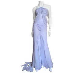 Krizia Lavender Draped Cut out Silk Gown