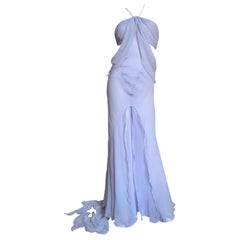Krizia Lavender New Draped Cut out Silk Gown