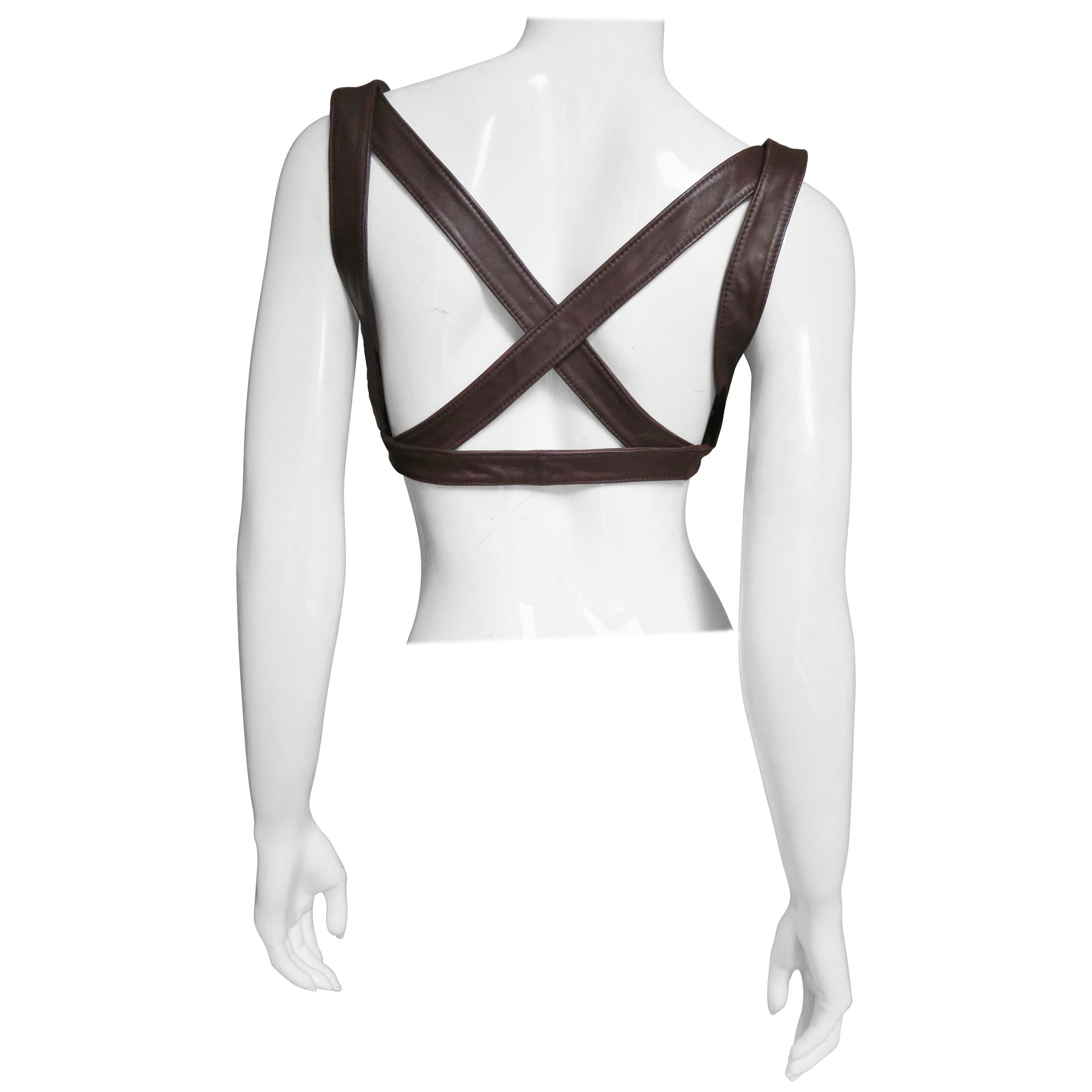 Krizia Leather Harness Top 1980s