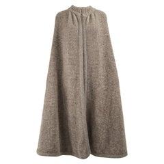 Krizia Maglia Vintage Mohair & Wool Knit Taupe Maxi Cape Cloak, 1980s