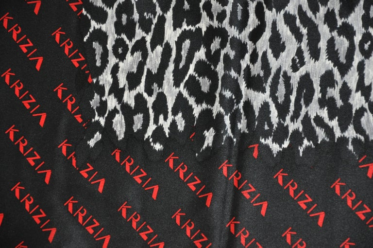 Krizia Majestic Black & Steel Gray Leopard Print Silk Scarf In Good Condition For Sale In New York, NY