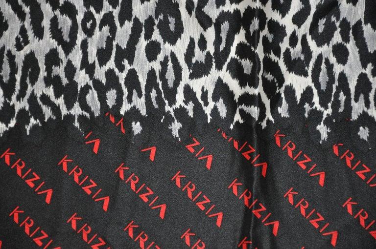 Women's or Men's Krizia Majestic Black & Steel Gray Leopard Print Silk Scarf For Sale