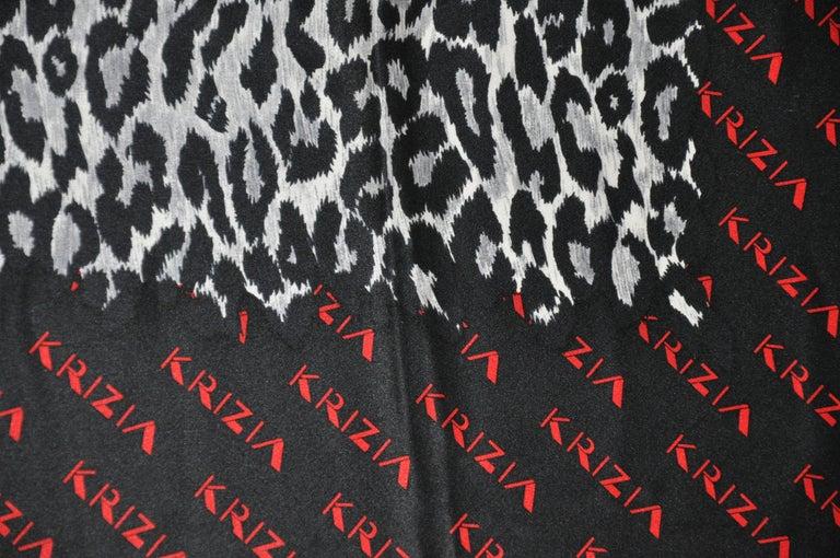 Krizia Majestic Black & Steel Gray Leopard Print Silk Scarf For Sale 1