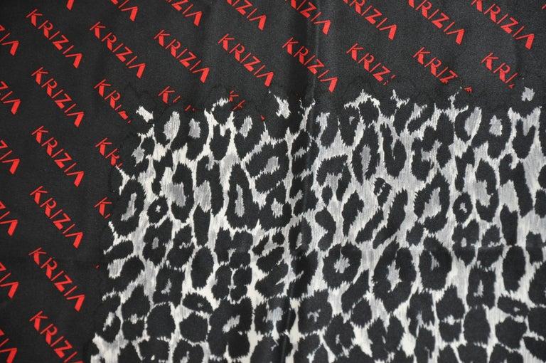 Krizia Majestic Black & Steel Gray Leopard Print Silk Scarf For Sale 3