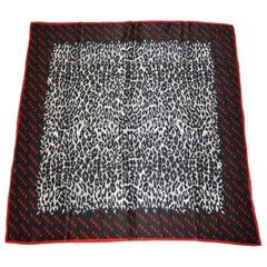 Krizia Majestic Black & Steel Gray Leopard Print Silk Scarf