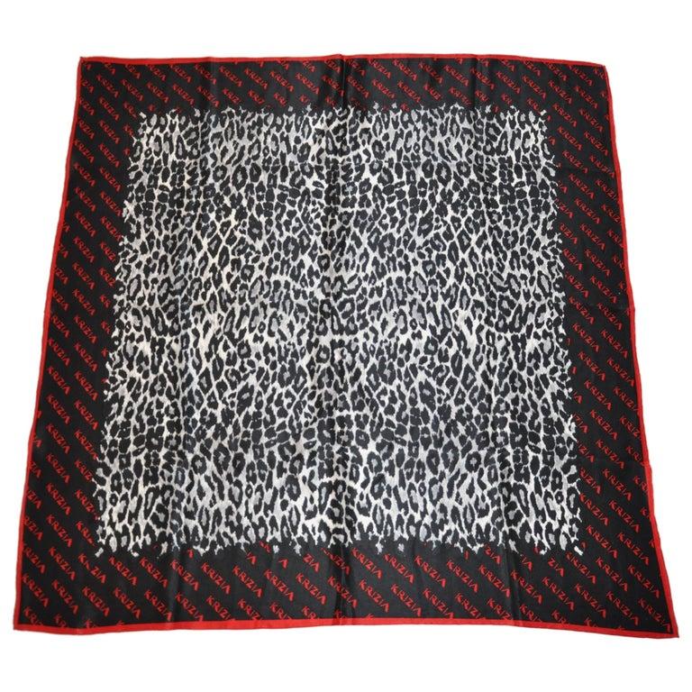 Krizia Majestic Black & Steel Gray Leopard Print Silk Scarf For Sale