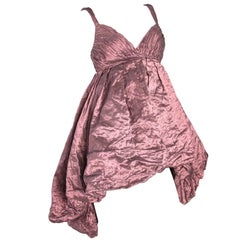 Krizia Metallic Silk Blouse, Longer in Back, full at hem