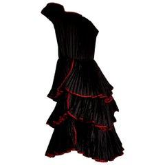 "KRIZIA ""New"" Haute Couture Black Flounced Pleated Silk Dress - Unworn"