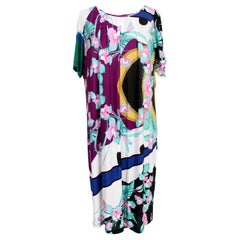 Krizia Pink Blue Viscose Floral Oversize Long Tunic Dress
