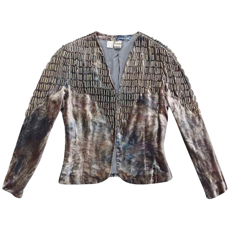 Krizia Rare 1980s Vintage Beaded Tie Dye Velvet Evening Jacket