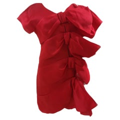Krizia red bowes silk dress
