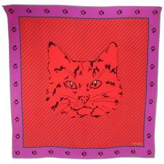 Krizia Red & Purple Silk Cat Scarf, 1980's