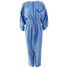 Krizia Vintage Blue Cotton Blouson Jumpsuit, 1980s