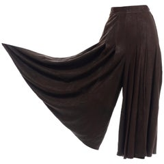 Krizia Vintage Brown Sheepskin Suede Wide Leg High Waist Pleated Culottes Pants