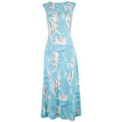 Krizia Vintage Sleeveless Blue Rip Snakeskin Print Stretch Jersey Dress, 1990s