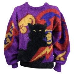 Krizia's Felix Black Cat Pullover Sweater
