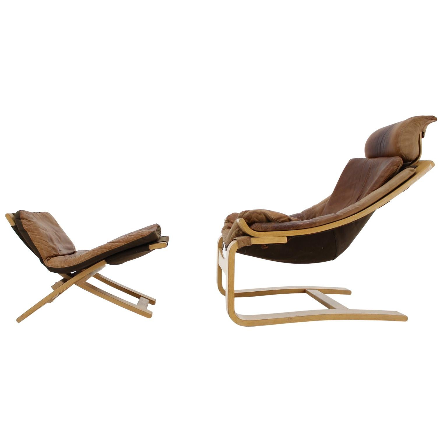 Kroken Leather Lounge Chair and Stool by Ake Fribytter for Nelo, Sweden, 1970s