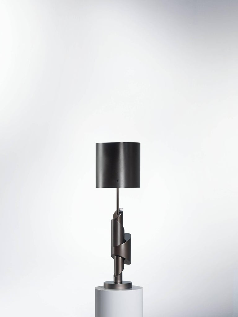 KRS II table lamp, signed William Guillon  Limited edition of 12 Signed and numbered Solid aluminium, smoke nickel / copper finish. Sand-blasted / Polished Dimensions: 64 x 19 x 19 cm  Handsculpted in France KRS II    Collapse