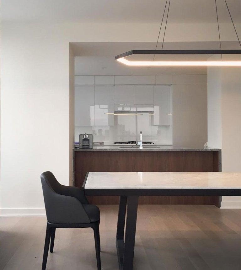 Contemporary KRUOS LX58 - Black Linear Hexagon Modern LED Chandelier Light Fixture  For Sale