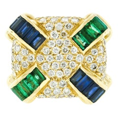Krypell 14k Gold 6.65ctw Diamond Channel Emerald & Sapphire Large Cushion Ring