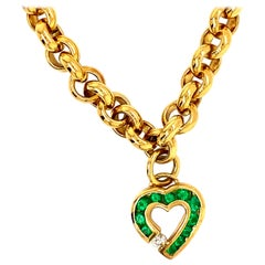 Krypell 18 Karat Gold Link Bracelet with Emerald and Diamond Heart Charm