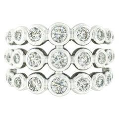 Krypell 18K White Gold 1.87ctw 3 Row Bezel Diamond Bubble Bead Wide Band Ring