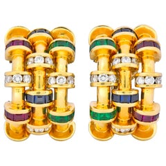 Krypell 4.40 CTW Sapphire Ruby Emerald Diamond 18 Karat Gold Ear-Clip Earrings