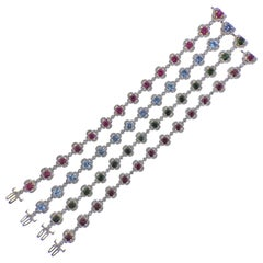Krypell Tourmaline Diamond Aquamarine Ruby Bracelet Set of 4