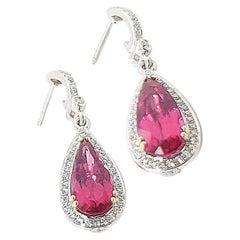 Krypell White Gold Diamond Rubelite Earrings