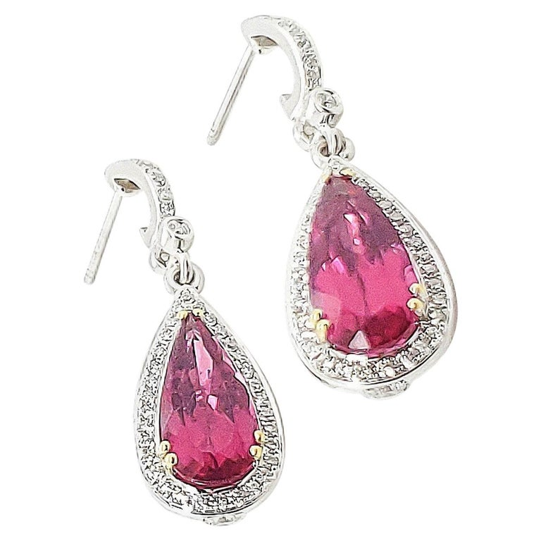 Krypell White Gold Diamond Rubelite Earrings For Sale