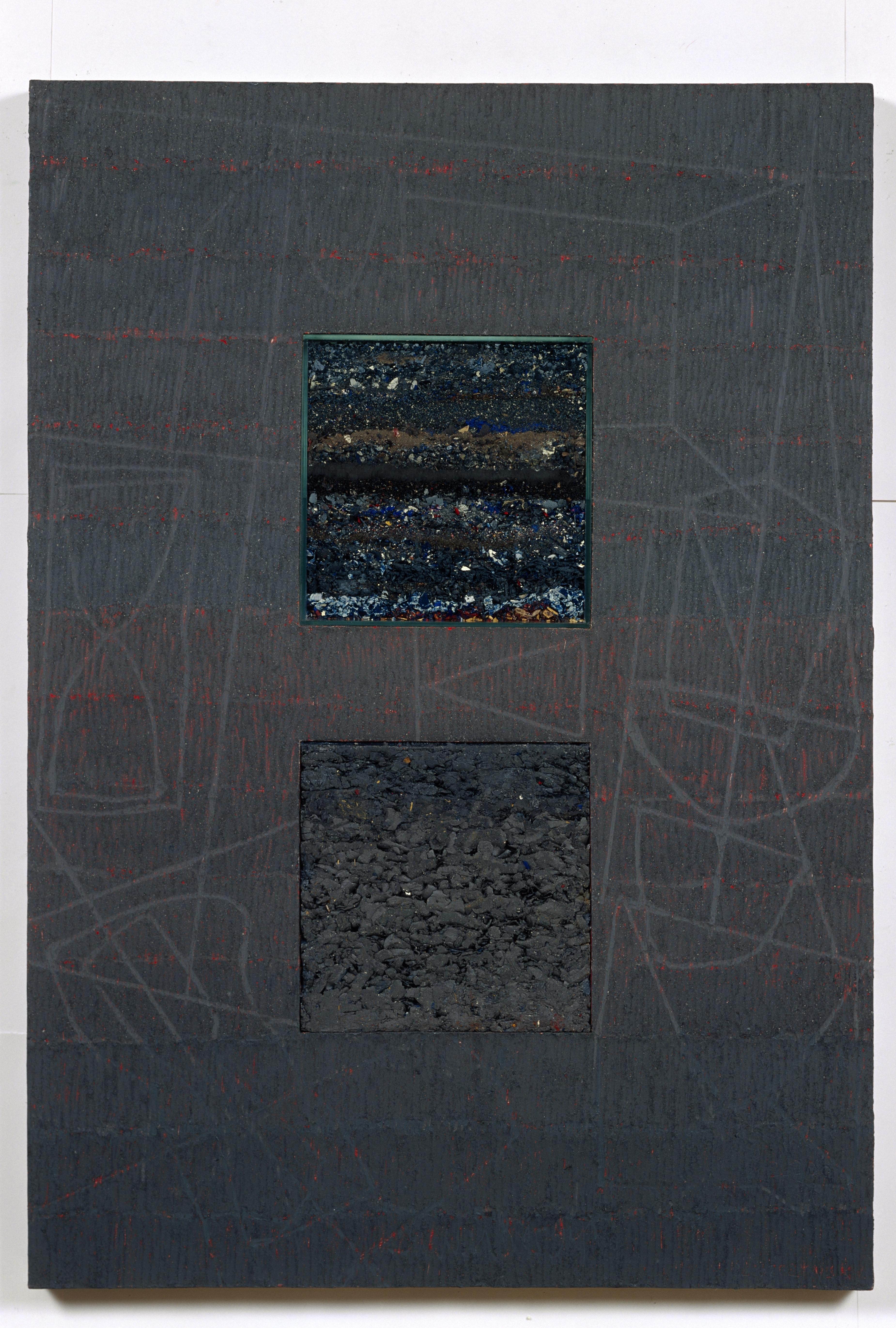 Grey Object, Series Urns - Encaustic Oil Painting, Marble Dust Ash On Wood