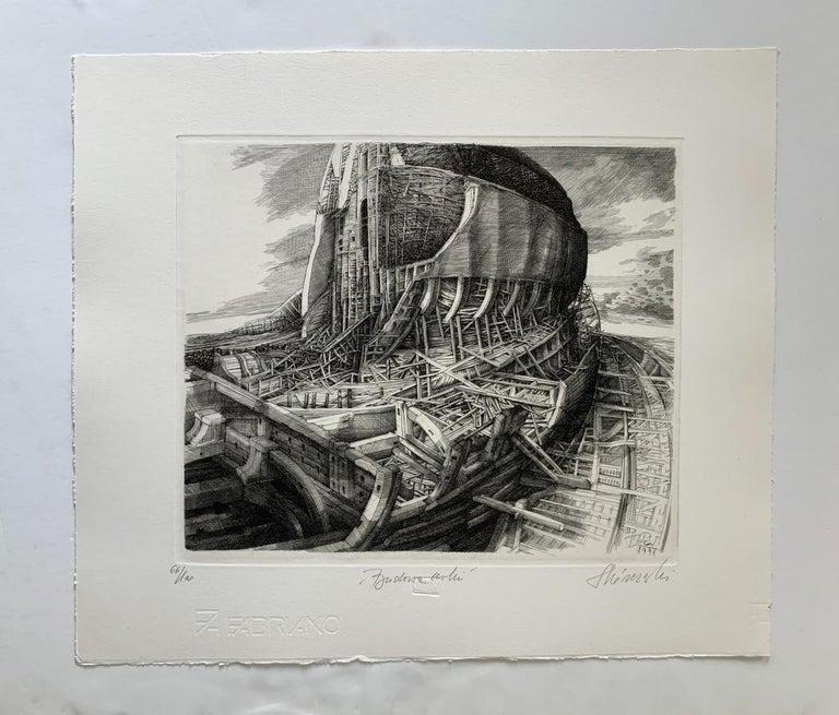 Building of an ark - 21st Century Figurative Copperplate Print, Architecture - Gray Figurative Print by Krzysztof Skorczewski