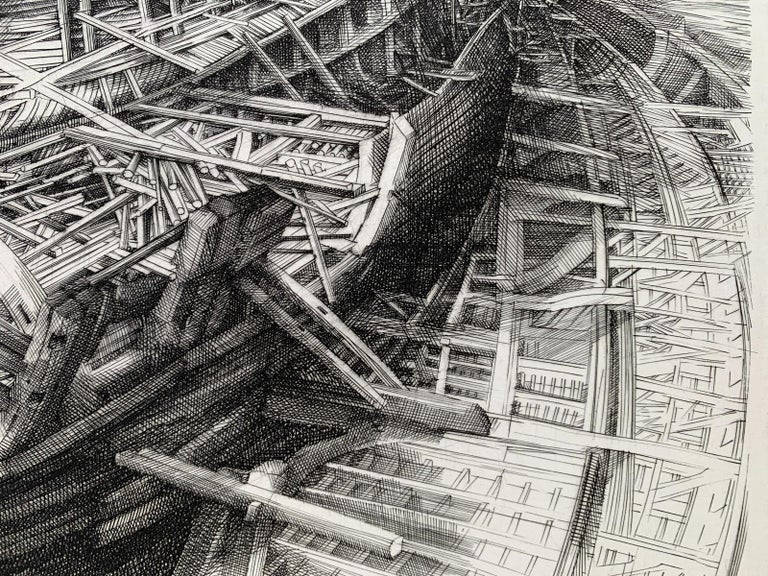 Building of an ark - 21st Century Figurative Copperplate Print, Architecture For Sale 1