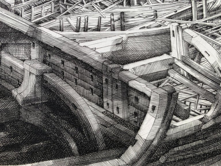 Building of an ark - 21st Century Figurative Copperplate Print, Architecture For Sale 2