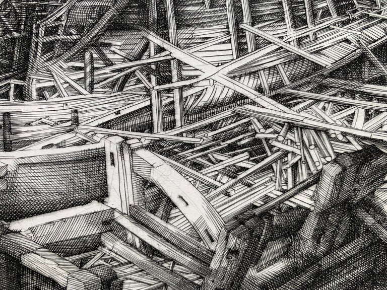 Building of an ark - 21st Century Figurative Copperplate Print, Architecture For Sale 3