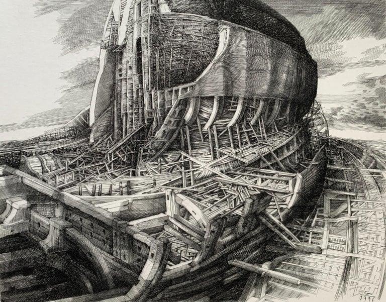 Krzysztof Skorczewski Figurative Print - Building of an ark - 21st Century Figurative Copperplate Print, Architecture
