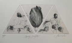 Josephat's gardens - 21st Century Figurative Copperplate Print Black & White