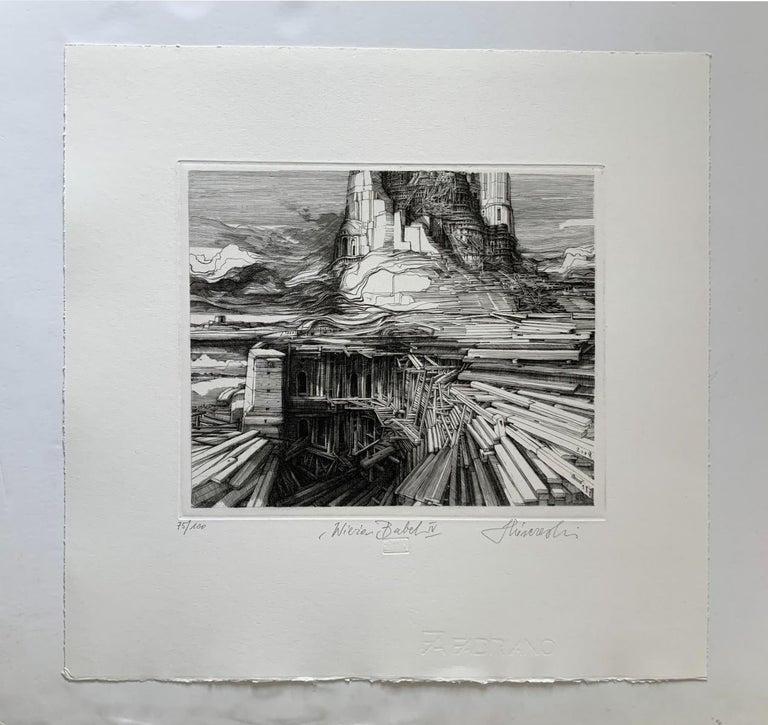 Tower of Babel - 21st Century Figurative Copperplate Print, Architecture - Gray Figurative Print by Krzysztof Skorczewski