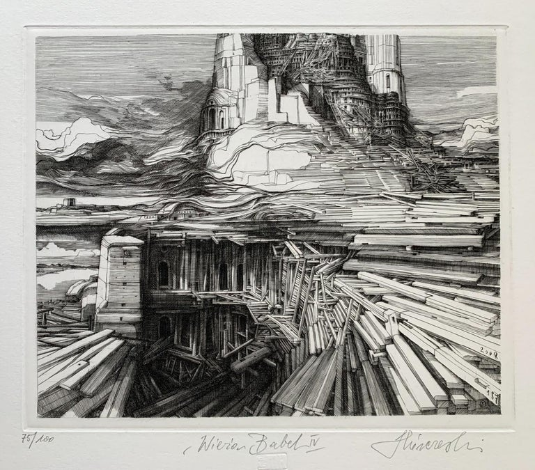 Tower of Babel - 21st Century Figurative Copperplate Print, Architecture For Sale 1