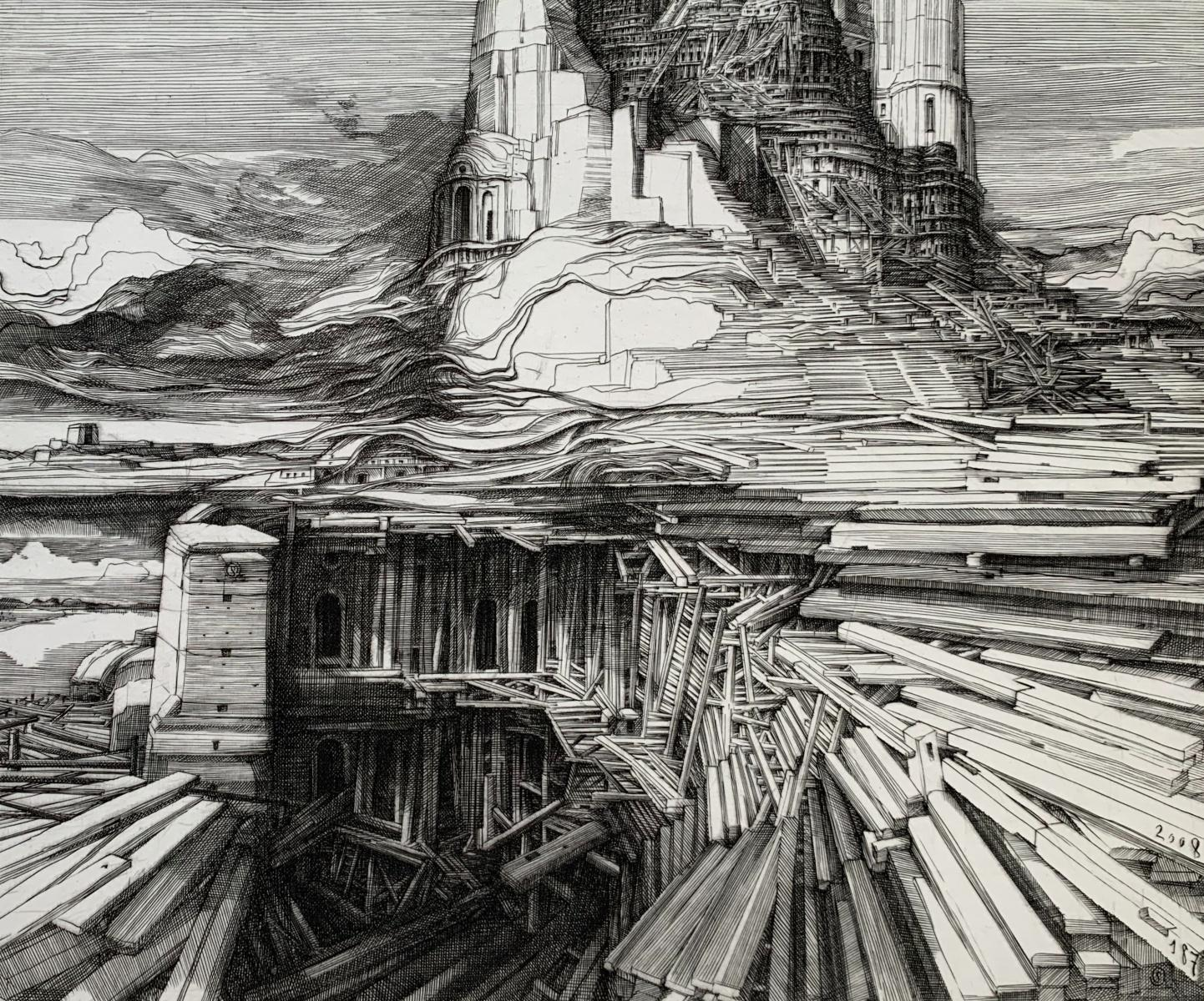 Tower of Babel - 21st Century Figurative Copperplate Print, Architecture