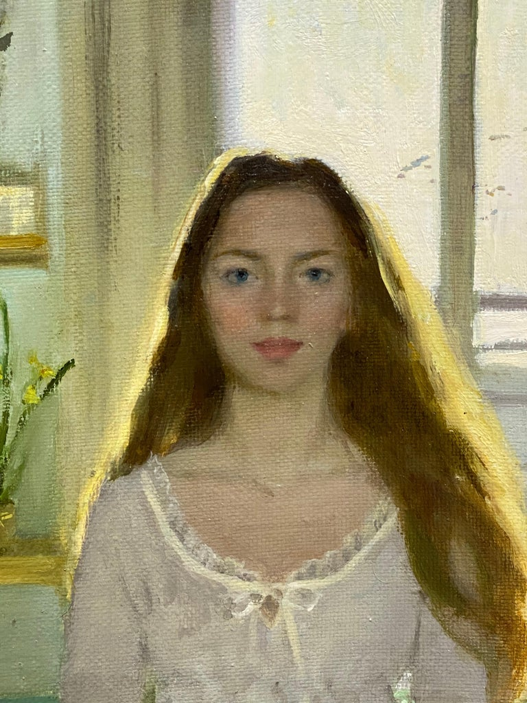 Goodmorning! - 21st Century figurative Interior Painting of a Girl in her Room - Gray Portrait Painting by Ksenya Istomina